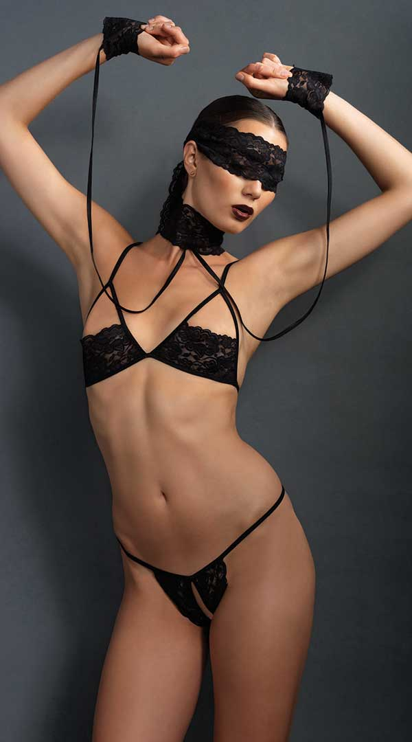 Kink Lace Bra and G String Set With Choker and Mask