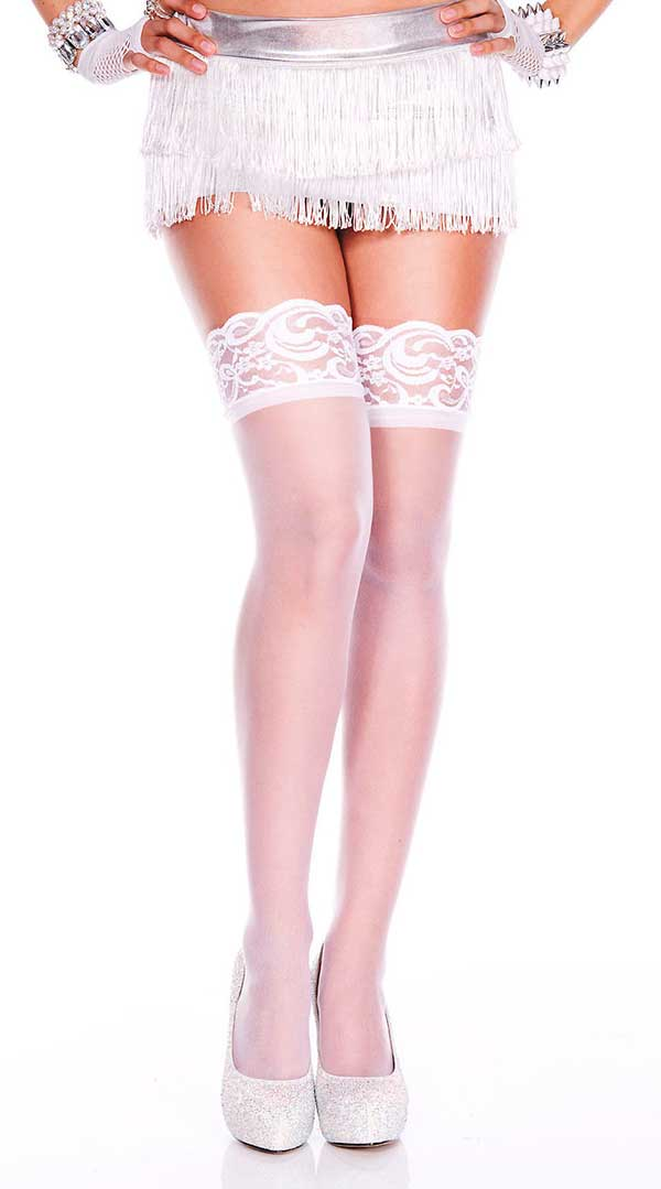Silicone Lace Top Spandex Sheer Thigh High