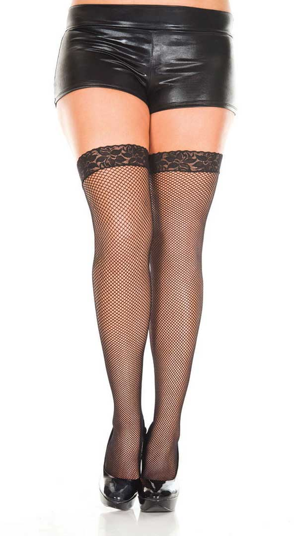 Lace Top Fishnet Thigh High