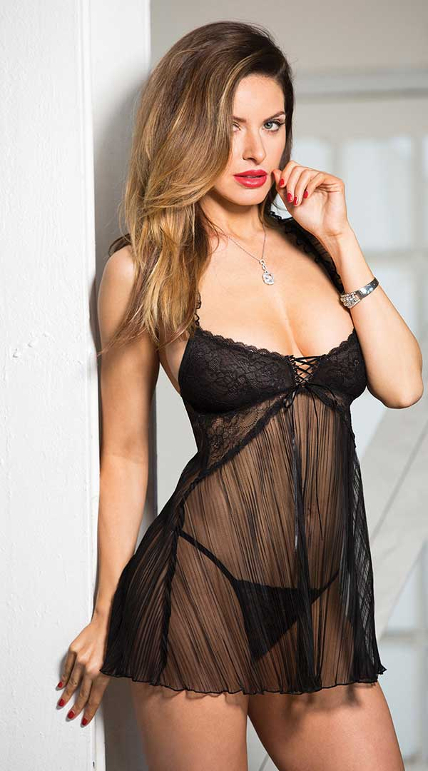 Stretch Lace & Pleated Net Babydoll