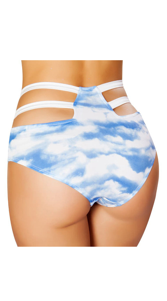 High-Waisted Strapped Shorts Clouds