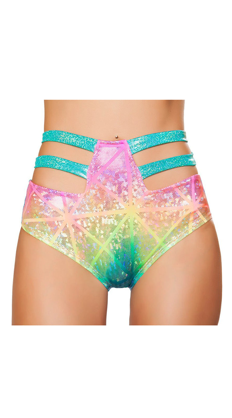 High-Waisted Strapped Shorts Hologram