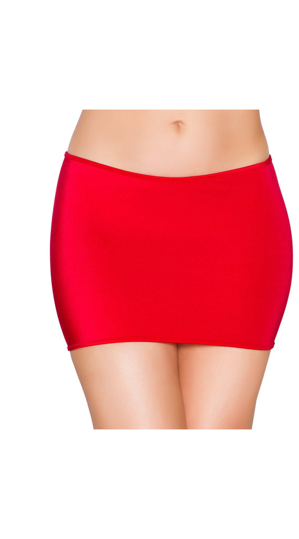 Red Lycra Mini Skirt Medium Length