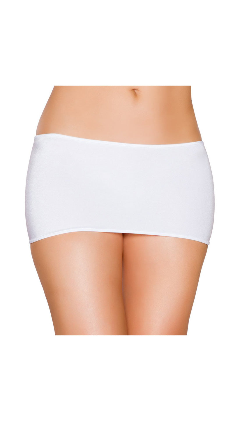 White Lycra Short Mini Skirt