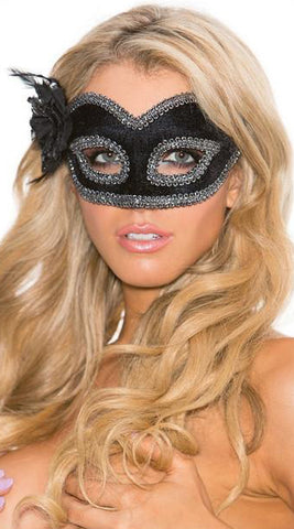 Black Velvet Mask with Silver Brocade
