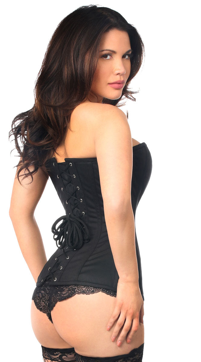 Cotton Steel Boned Corset with Zipper in Black