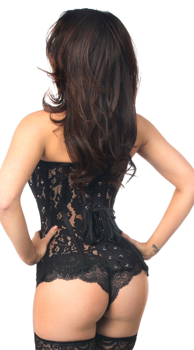 Lace Steel Boned Corset with Rhinestones in Black