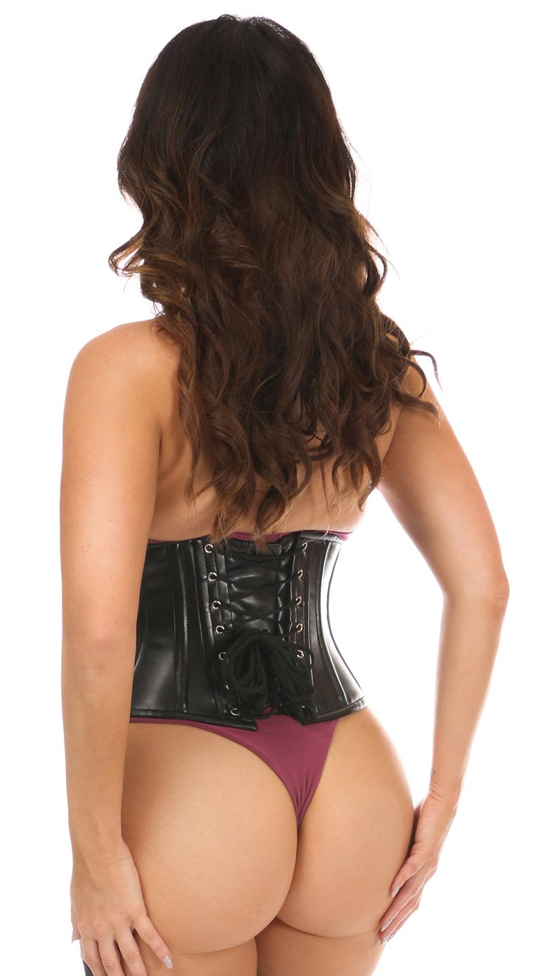 Faux Leather Steel Boned Under Bust Corset