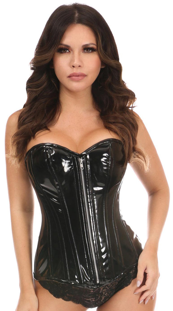 Patent PVC Steel Boned Over Bust Corset in Black