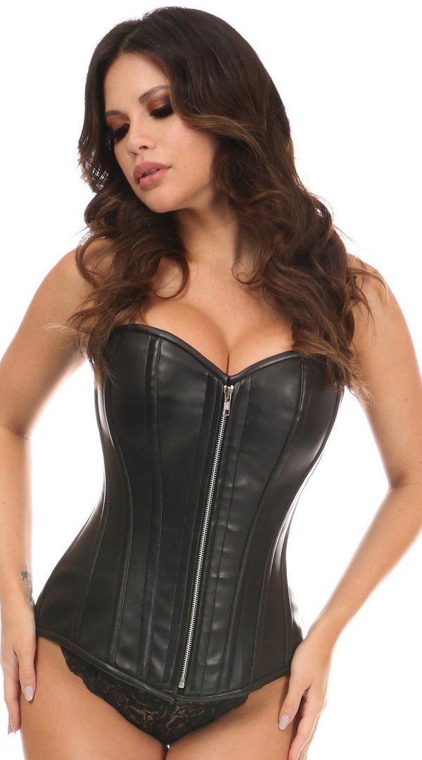 Faux Leather Steel Boned Overbust Corset