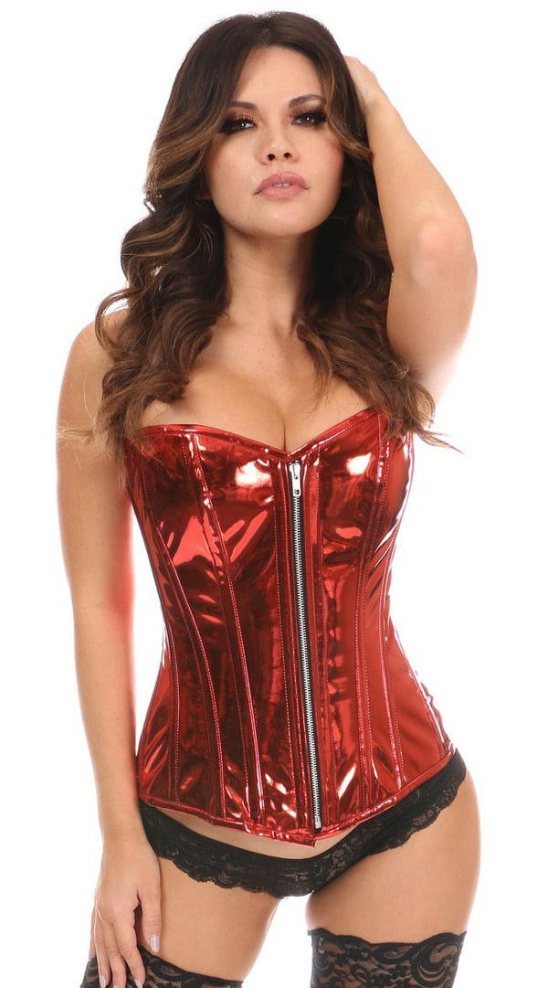 Metallic Steel Boned Overbust Corset