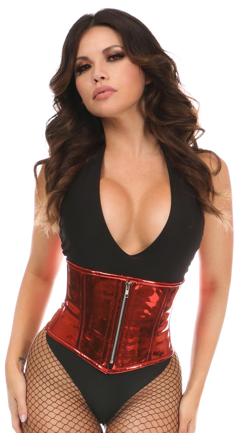 Metallic PVC Steel Boned Mini Cincher