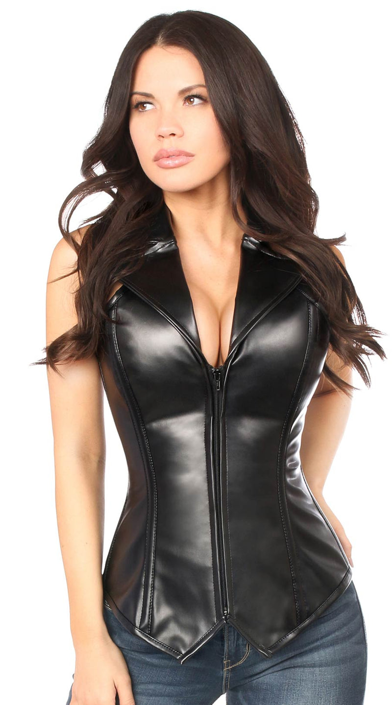 Faux Leather Collared Steel Boned Corset