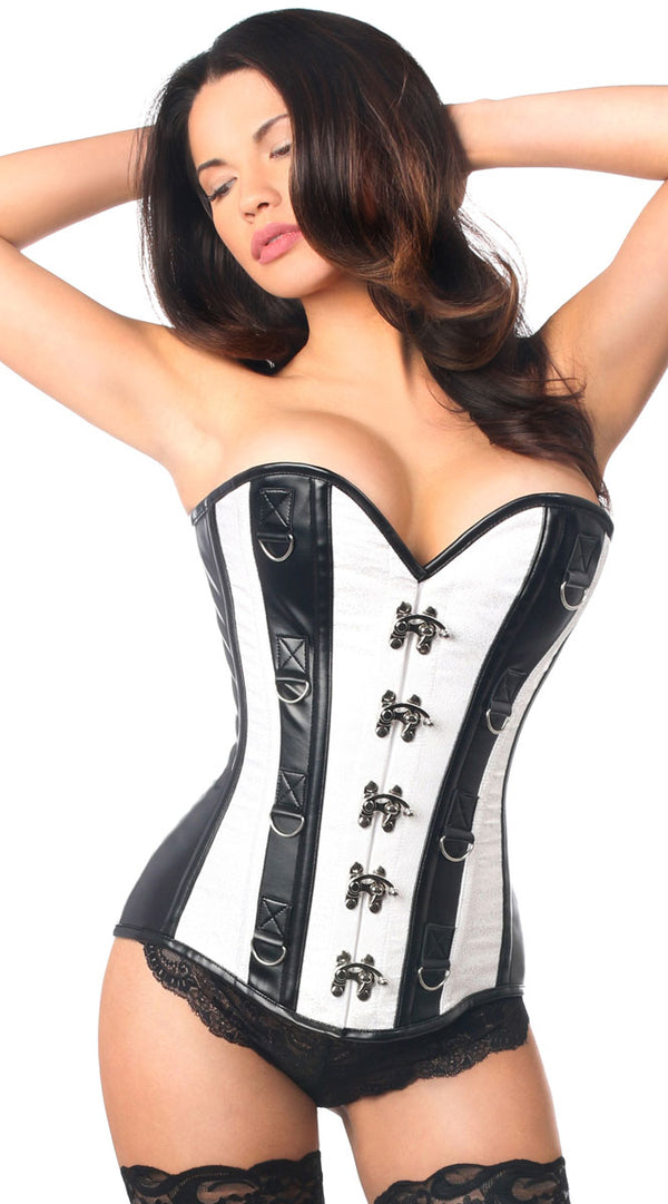 Brocade & Faux Leather Steel Boned Corset in White