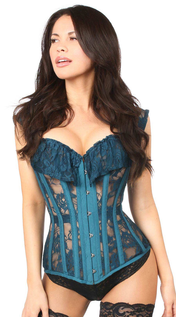 Sheer Lace Steel Boned Corset in Dark Teal