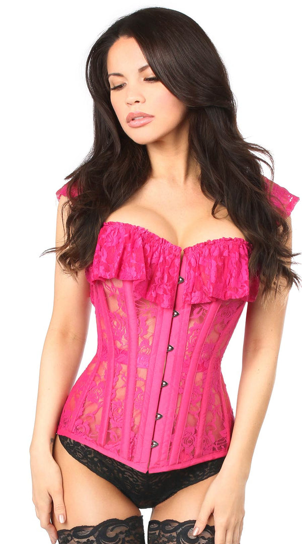 Sheer Lace Steel Boned Corset in Fuchsia