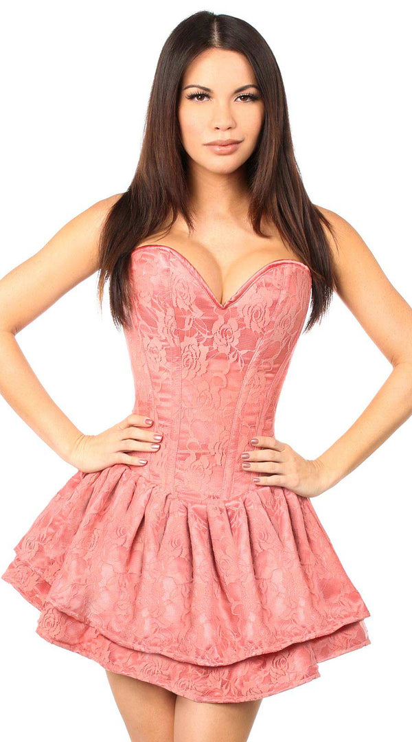 Lace Steel Boned Ruffle Corset Dress in Mauve