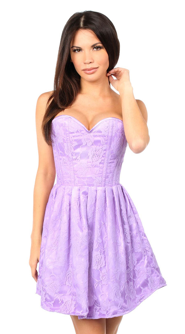 Steel Boned Lace Empire Waist Corset Dress in Lilac