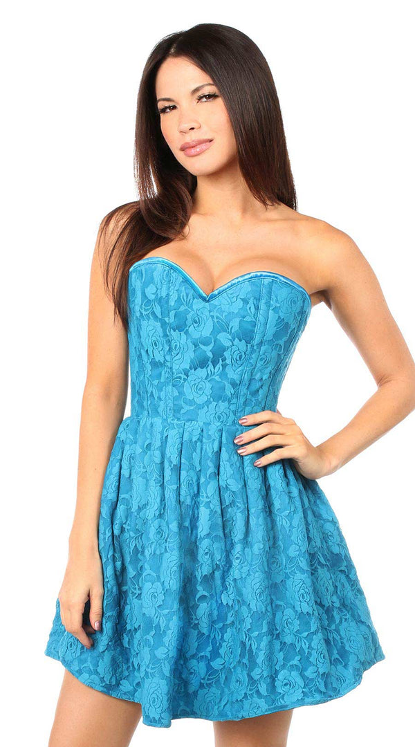 Steel Boned Lace Empire Waist Corset Dress in Teal