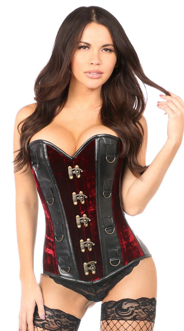 Velvet & Faux Leather Steel Boned Corset in Red