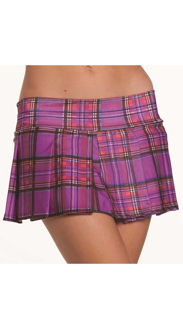 Purple Pleated School Girl Skirt