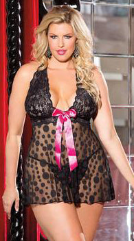 Large Polka Dot Net Babydoll and G-String