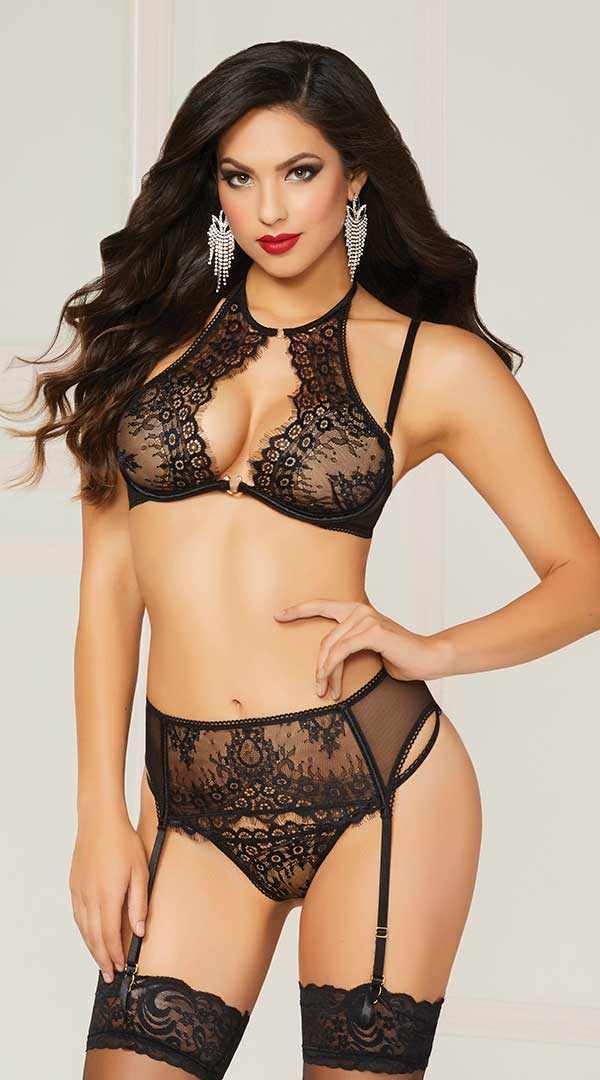 Three Pc. Floral Eyelash Lace & Mesh Set