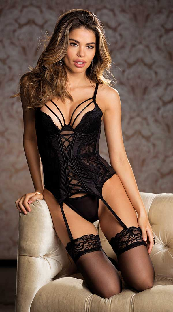 Lace Bustier and G String Set