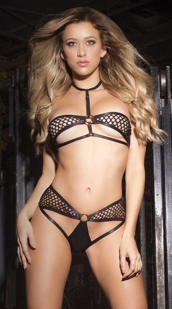 Two Piece Underwire Cage Bra and Harness Panty With Gold Rings