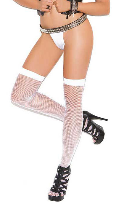 Fishnet Thigh High White With Back Seam