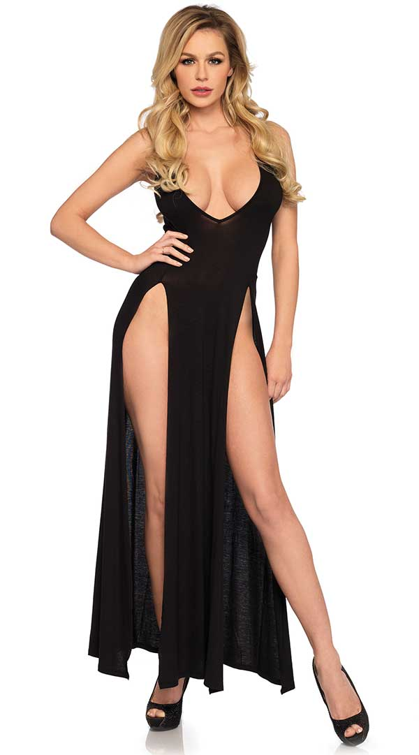 Deep V Dual Slit Jersey Maxi Dress
