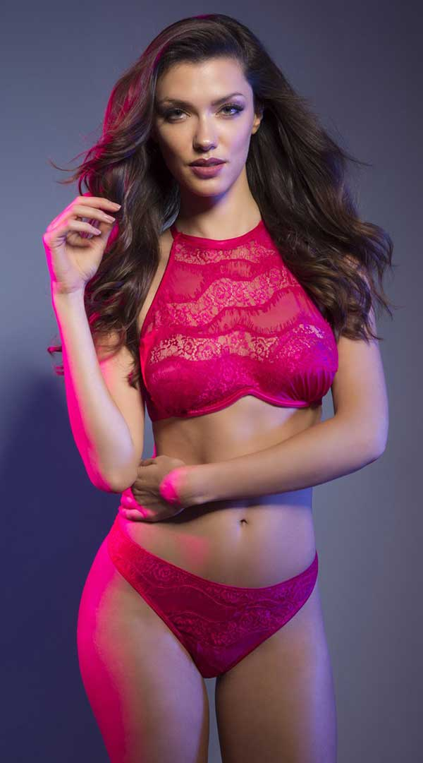 High Neck Bra With Diagonal Eyelash Lace Panels