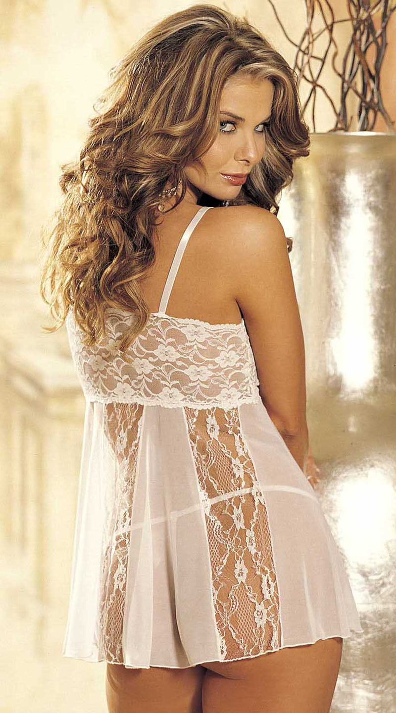 Two Piece Stretch Lace and Sheer Net Babydoll Set