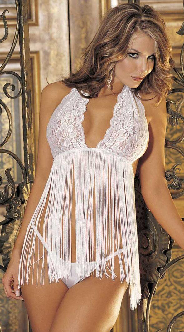 Two Piece Stretch Lace and Fringe Babydoll Set