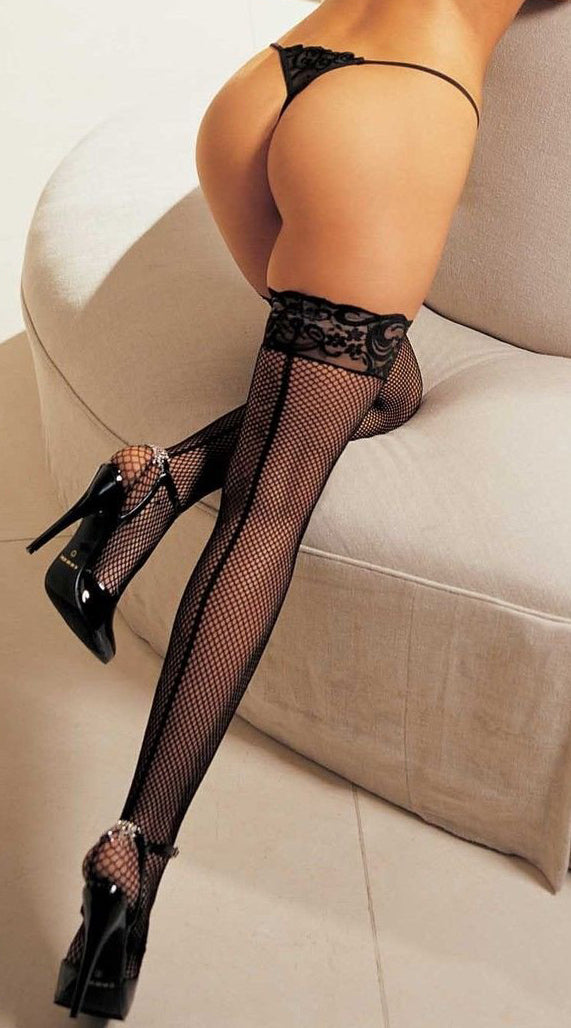 Back Seam Fishnet Thigh High - ElegantStripper
