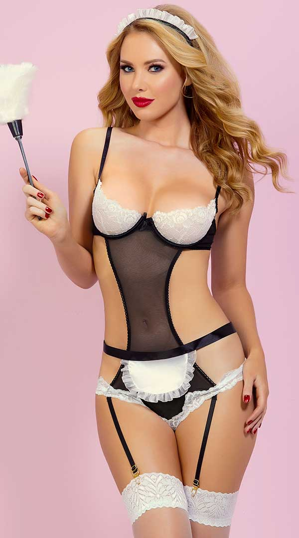 At Your Service Teddy Set - ElegantStripper