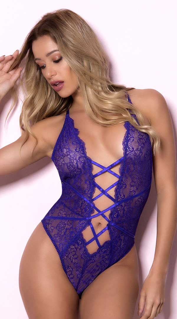 Soft Lace Teddy With Fixed Front Lace Up Detail and Cheeky Back