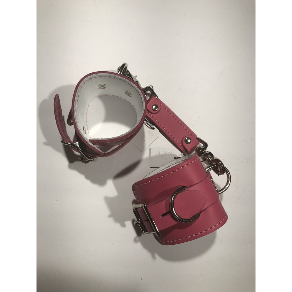 Pink and White Leather Cuff and Connector Set  M/L - Wicked Wanda's Inc.