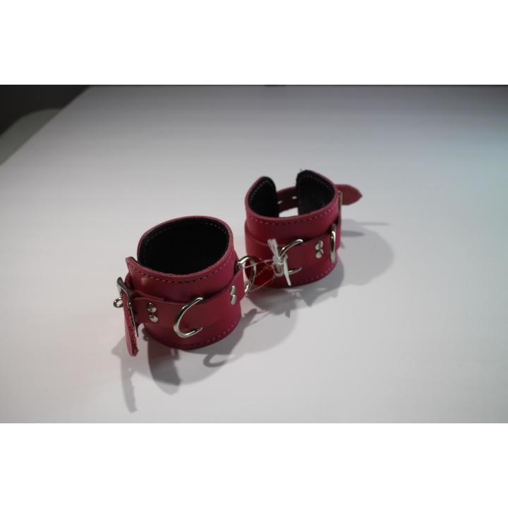 M/L Pink and Black Leather Cuffs - Wicked Wanda's Inc.