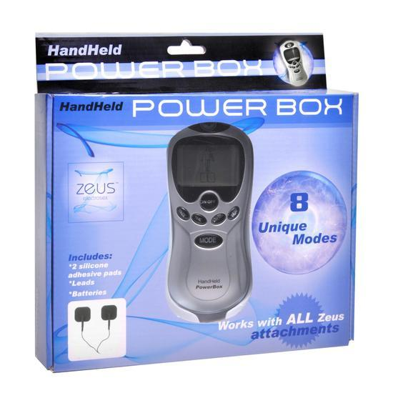 Zeus Handheld 8 Mode Power Box with Black E-Stim Pads - Wicked Wanda's Inc.