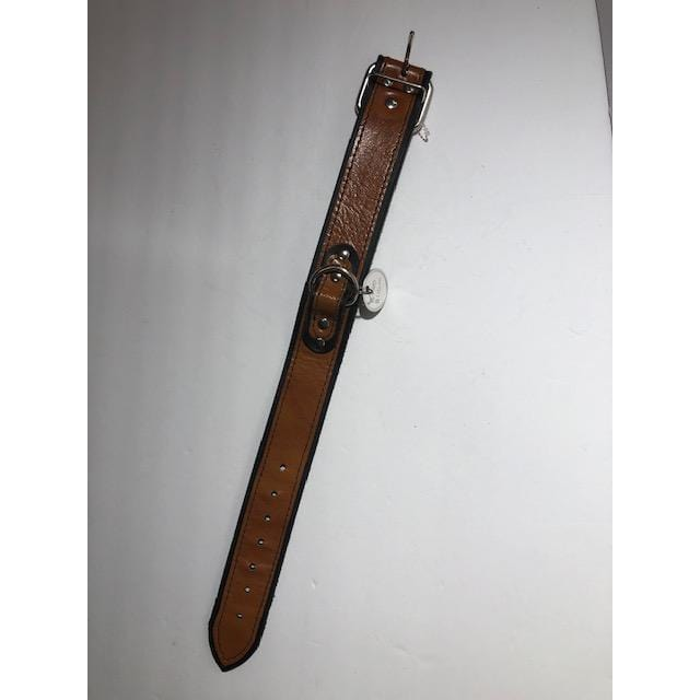 Medium Handcrafted Brown and Black Leather Collar - Wicked Wanda's Inc.