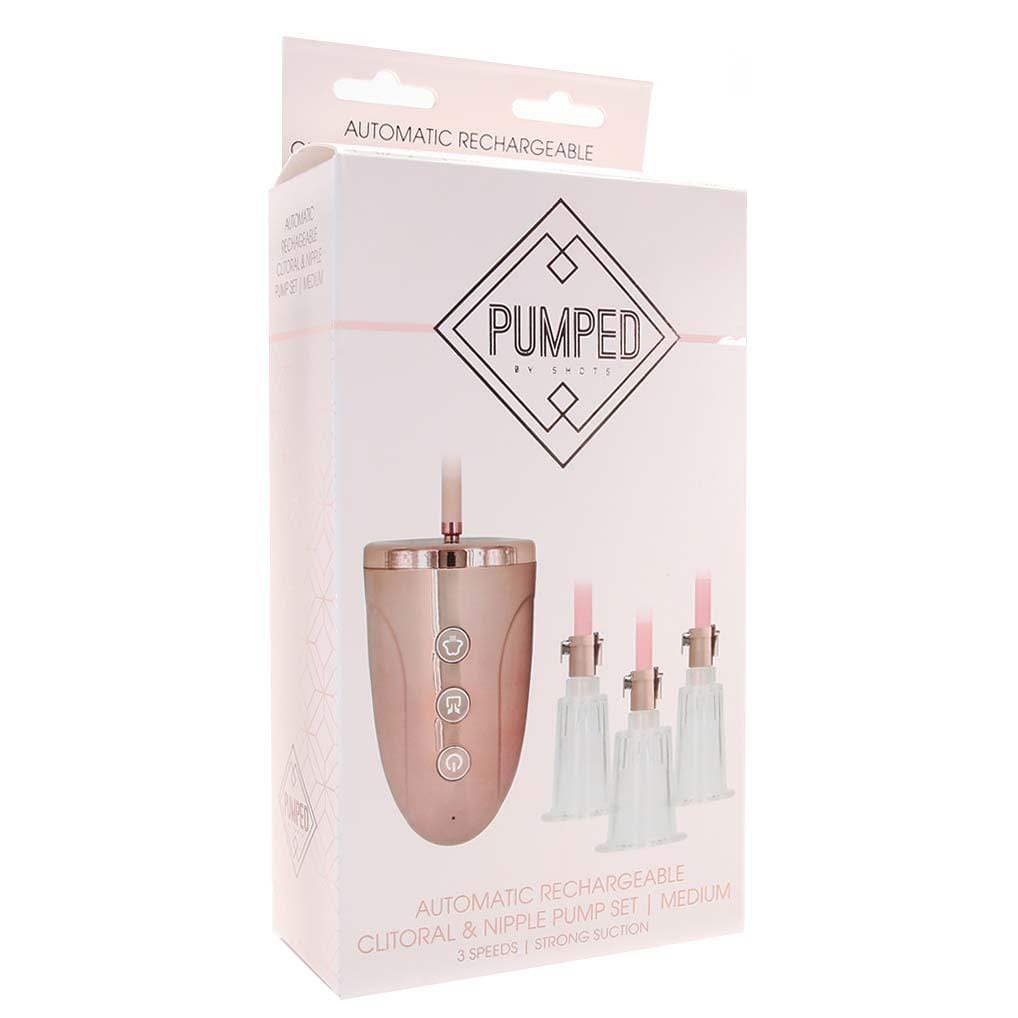 Pumped by Shots Automatic Rechargeable Clitoral and Nipple Pump Set Medium - Wicked Wanda's Inc.