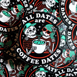 Rad Coffee - Stickers - All Dates Are Coffee Dates Sticker - Valentine's Day Edition