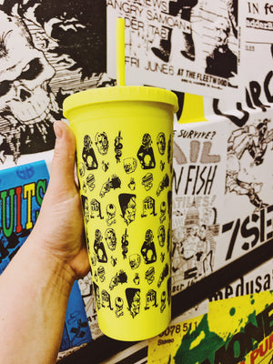 Neon Yellow Flash Logo Tumbler