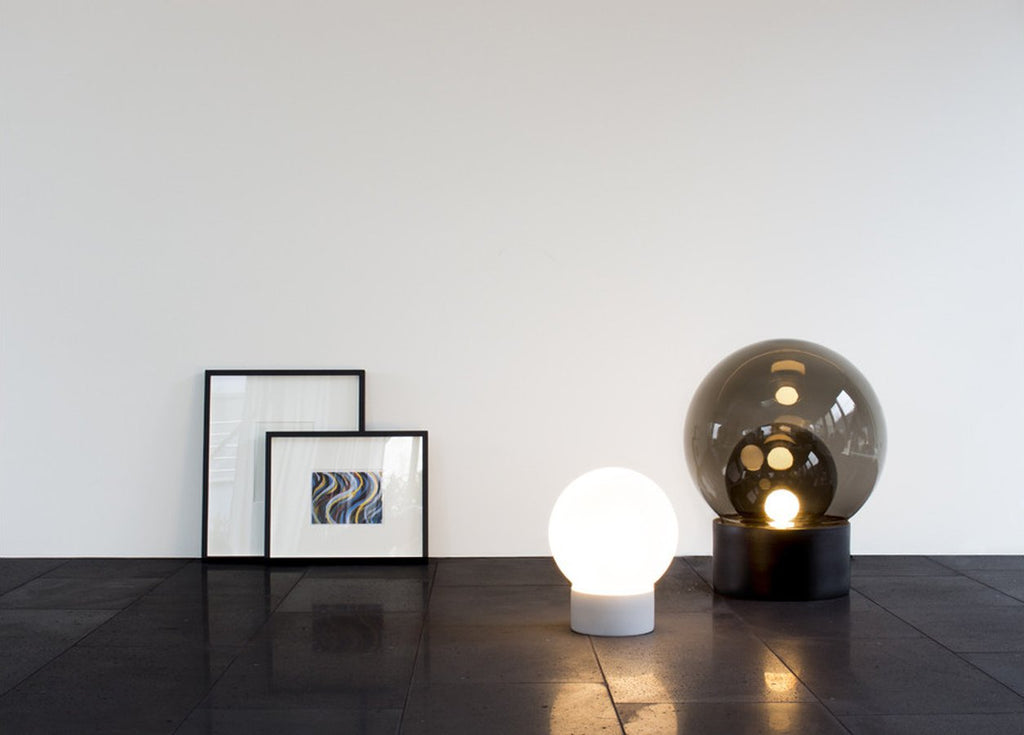 Boule Lamp Clear and Opal White Glass
