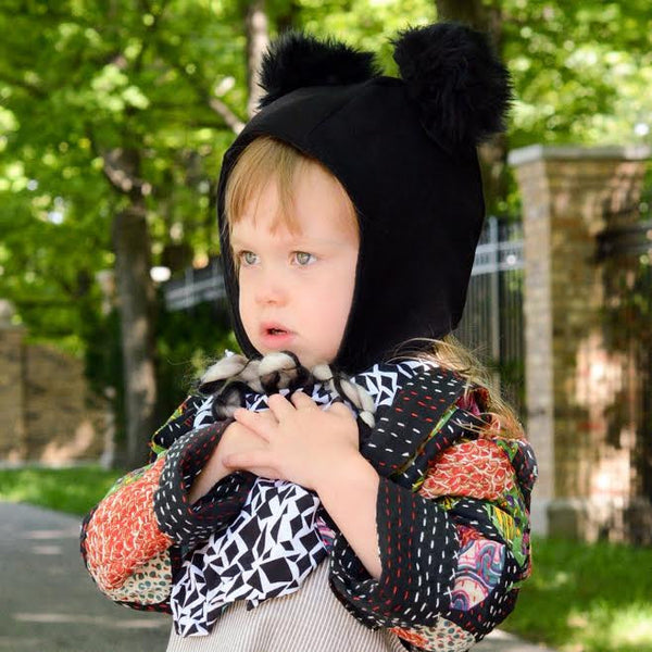Black wool pom bonnet