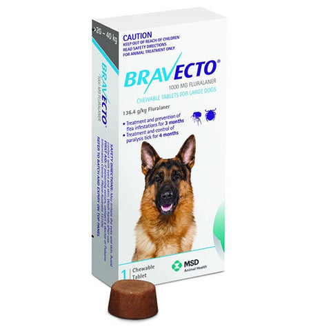 Bravecto Flea & Tick Chews - 20-40kg Large Dog (3 month) - Pet Chemist