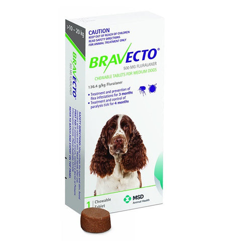 Bravecto Flea & Tick Chews - 10-20kg Medium Dog (3 month) - Pet Chemist