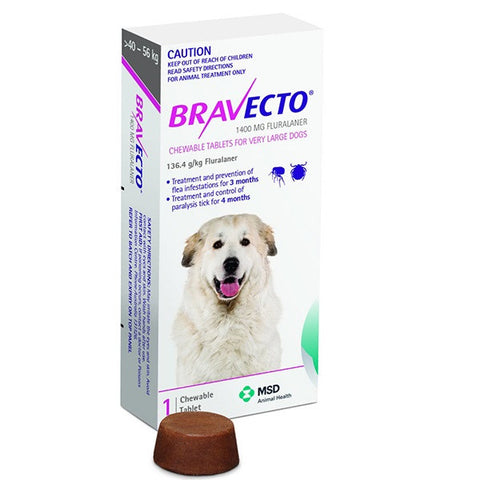 Bravecto Flea & Tick Chews - 40-56kg Very Large Dog (3 month) - Pet Chemist