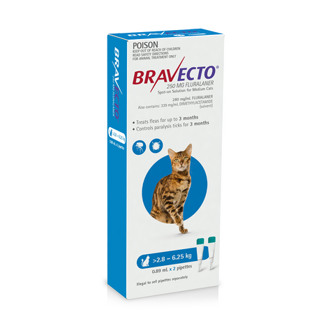 Bravecto Cat Spot-on Blue 2.8-6.25kg (2 x 3 months)